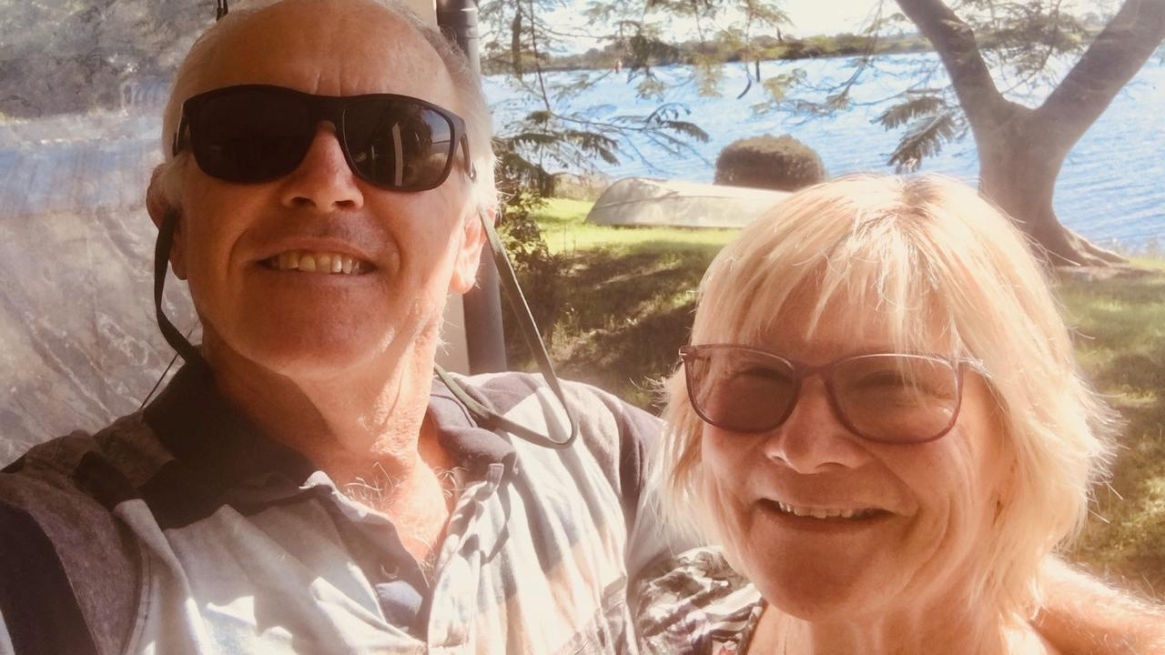 Ulmarra couple John and Di Leask back at their Ulmarra home yesterday less than a third of the way through their dream cruise ship holiday.