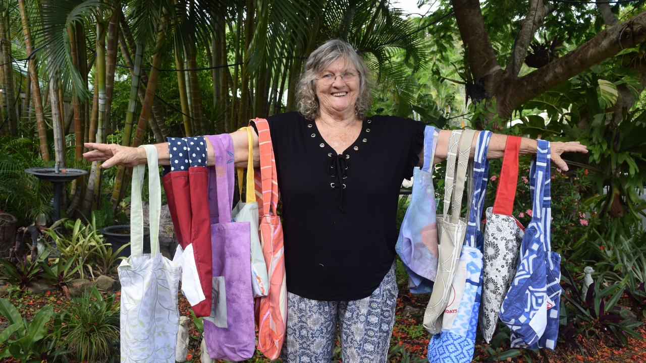 Boomerang Bags Whitsundays co-ordinator Barb Adamson shows off some of the bags the group has made.