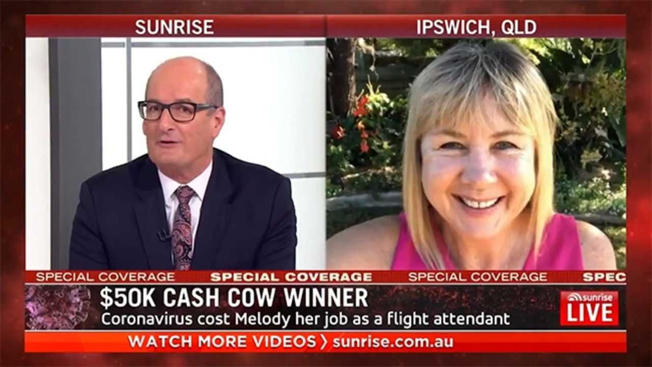 Melody Hemensley chatting to David Koche on Sunrise this morning. Picture: Supplied