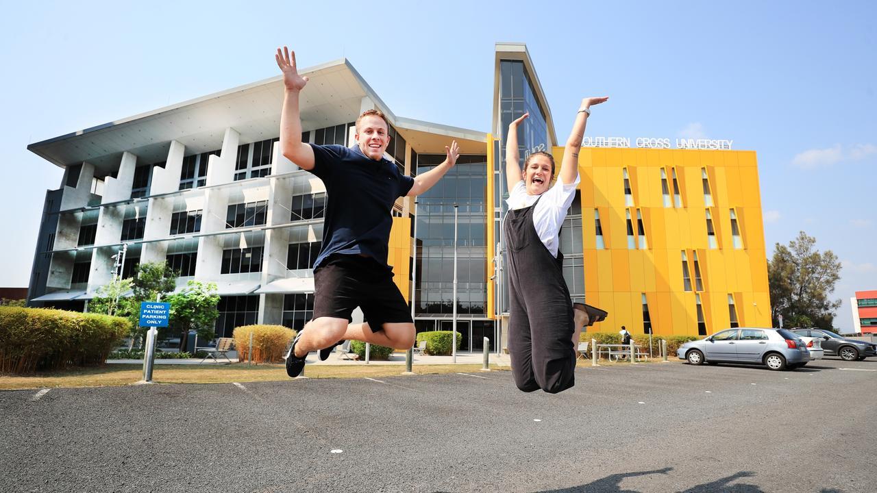Southern Cross University students Issac Hawkins and Taliha Parsons. Picture: Scott Powick