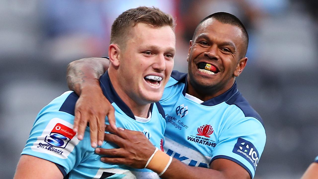 Angus Bell and Kurtley Beale will receive full pay ahead of the resumption of the pay cut talks. Picture: Mark Kolbe/Getty