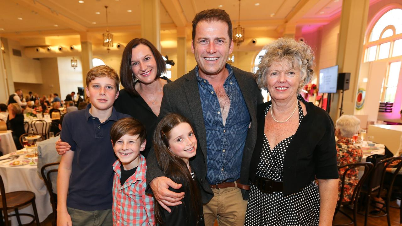 Happier times: Karl Stefanovic at a David Jones Mothers Day brunch with now ex wife Cass and mother Jenny, also with kids Jackson (14), Ava (9) and River (7). Picture: Attila Szilvasi.