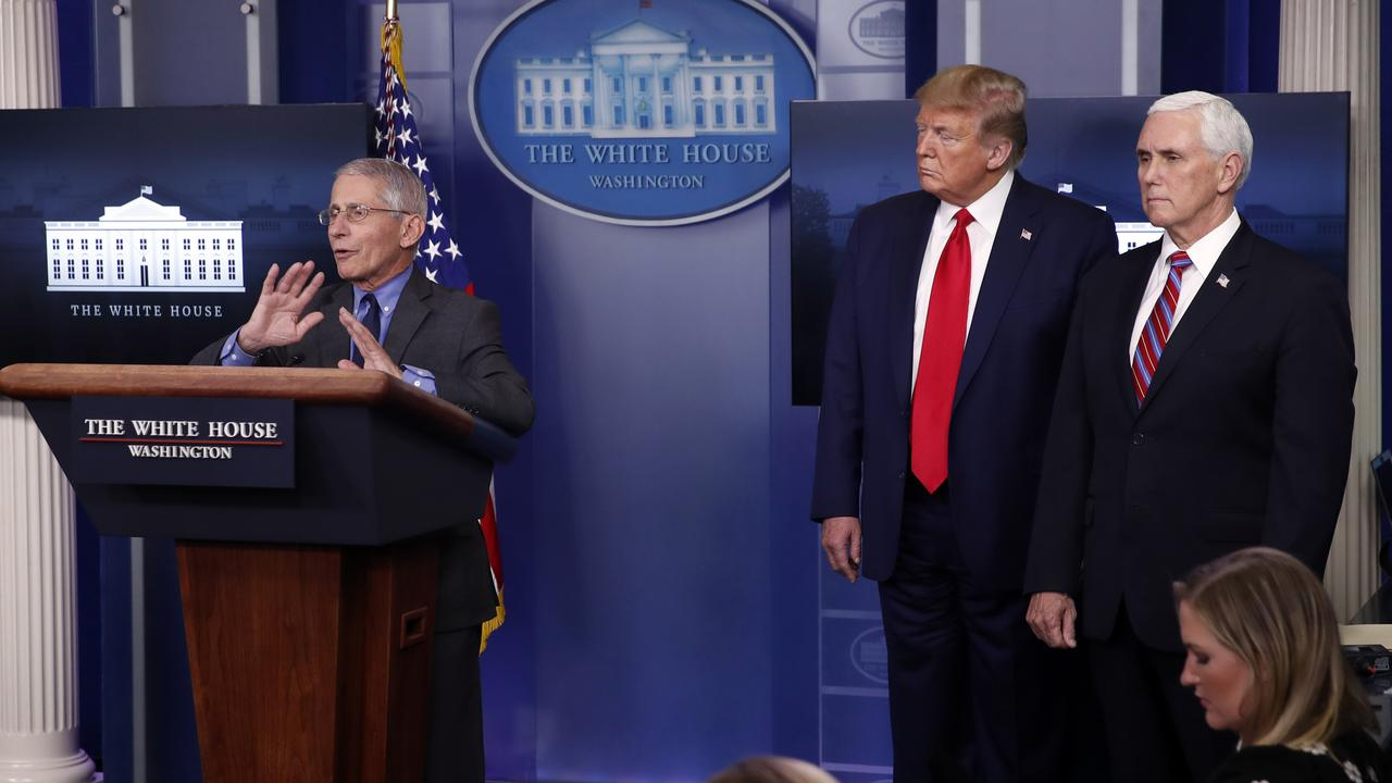Dr Anthony Fauci dismisses reports he is not getting along with the President. Picture: Alex Brandon/AP