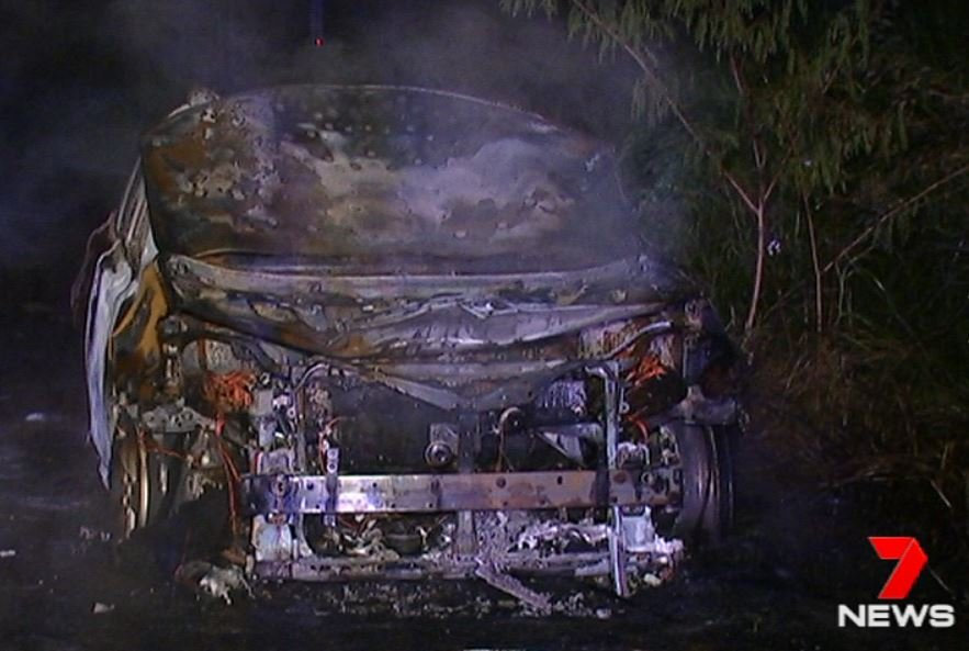 Police are searching for car thieves who also broke into several shops before dumping the stolen cars in Yandina bushland and setting them on fire. Photo: 7NEWS Sunshine Coast