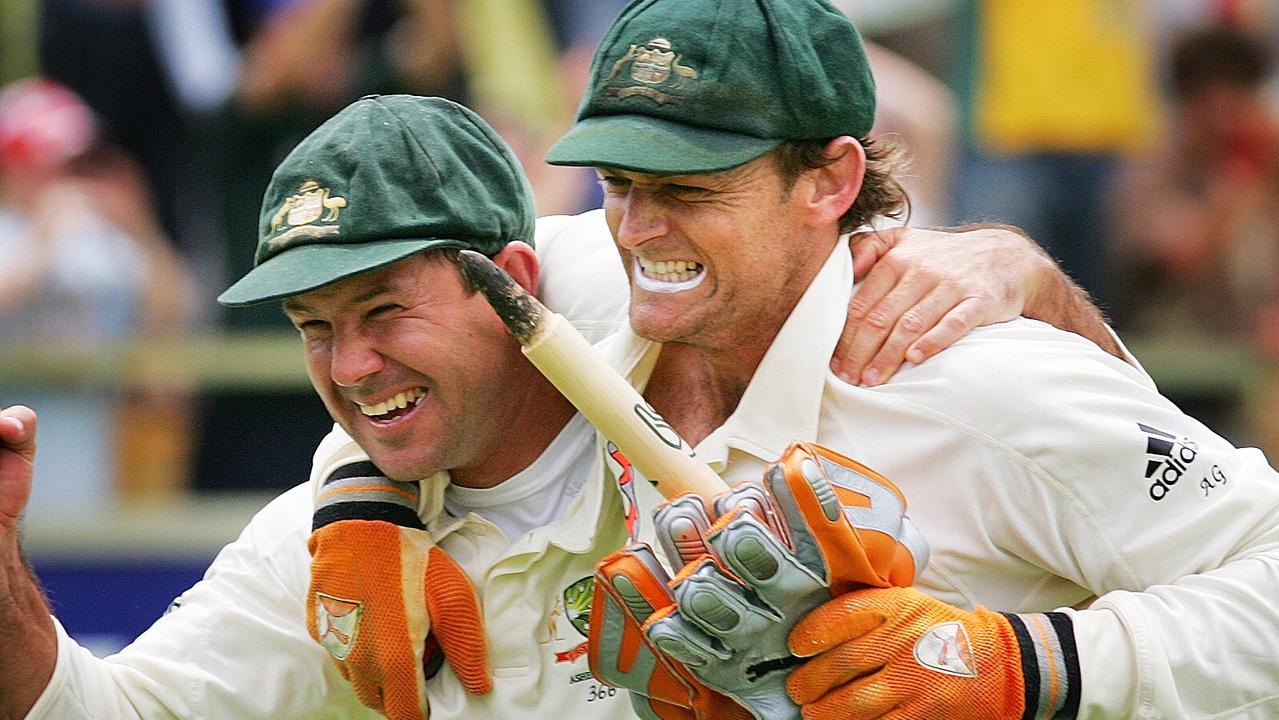 Ricky Ponting and Adam Gilchrist celebrate nailing the especially tricky question 14!