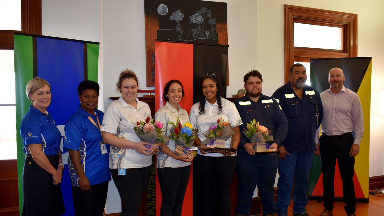 Gladstone Ports Corporation's People, Community and Sustainability general manager Rowen Winsor, Indigenous Affairs advisor Lee-ann Dudley, Dahna King, Danika Renz, Rikarra Benjamin, Ryley Creamer, mentoring and liaison officer Allen Craigie and acting CEO Craig Walker.