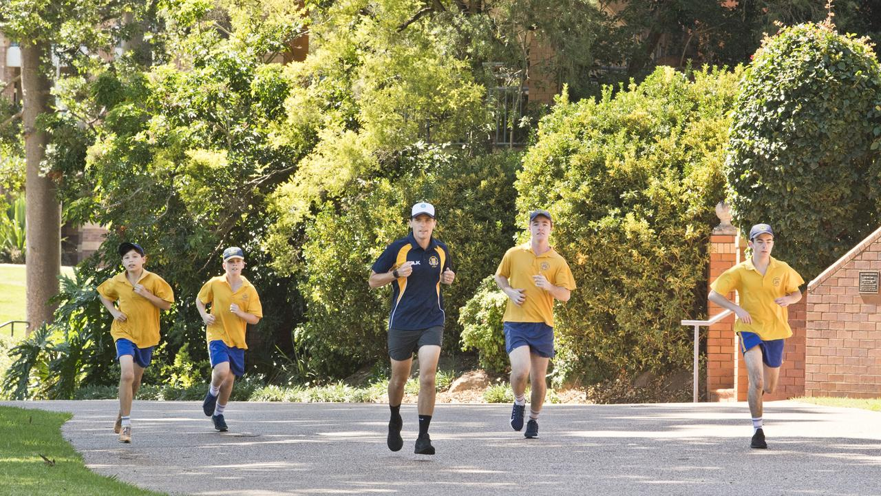 HELP FROM HOME: Preparing for the Toowoomba Grammar School iso-marathon challenge are (from left) Taku Doherty, James Richardson, teacher Ryan Fowler, Patrick Noble and Sam Noble .