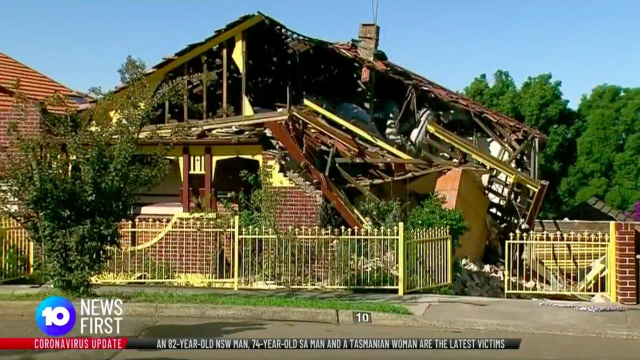 The family was lucky to survive after the home exploded and collapsed.