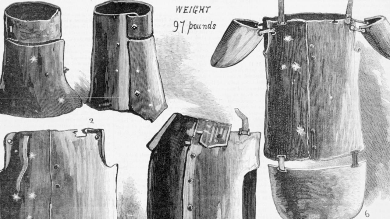 A newspaper illustration of the Kellys' armour in 1880. Picture: State Library of Victoria