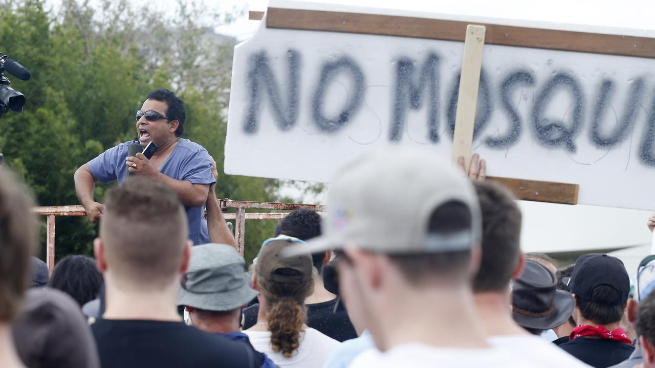 Justin Albert, anti-mosque protester, speaking at a rally in Maroochydore in 2015. Picture: Megan Slade