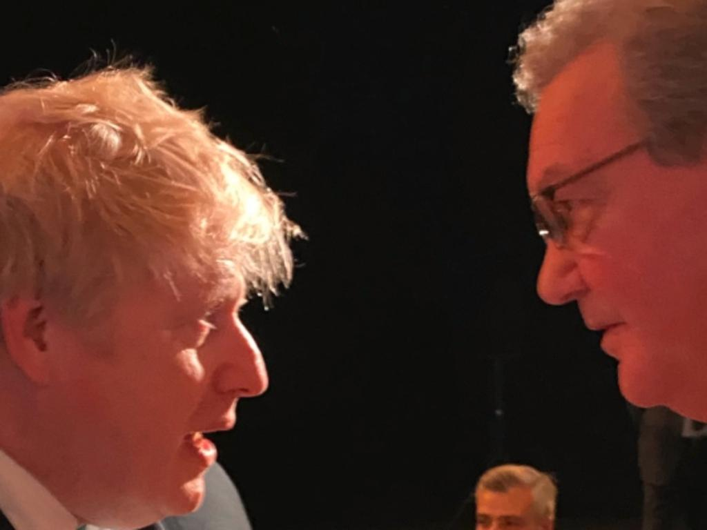 British Prime Minister Boris Johnson with former foreign affairs minister Alexander Downer in London. Picture: Supplied
