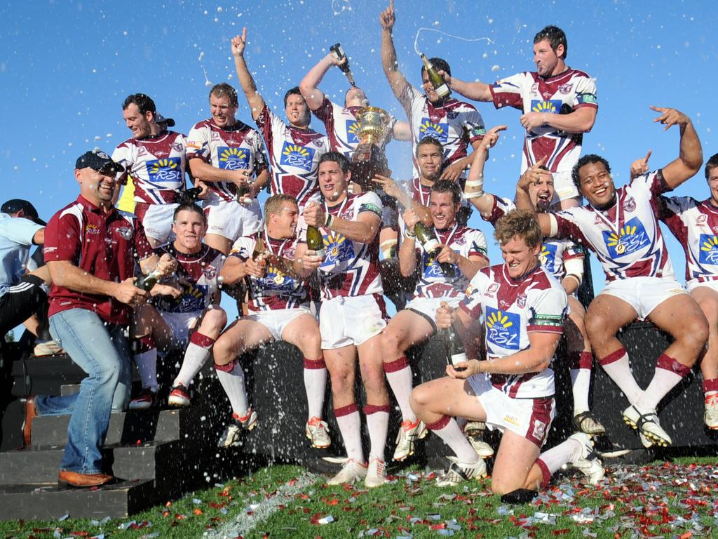 Sunshine Coast Sea Eagles celebrate the grand final win. Photo: Warren Lynam