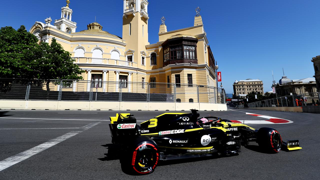 Ricciardo drives his Renault during last year's Azerbaijan Grand Prix at Baku. Picture: Getty Images