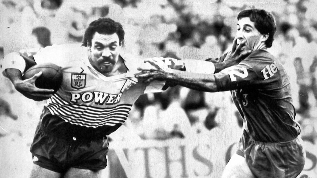 Former Broncos Joe Kilroy tries to fend off Knights' Steve Fulmer during the 1988 match against Newcastle. Picture: News Corp file