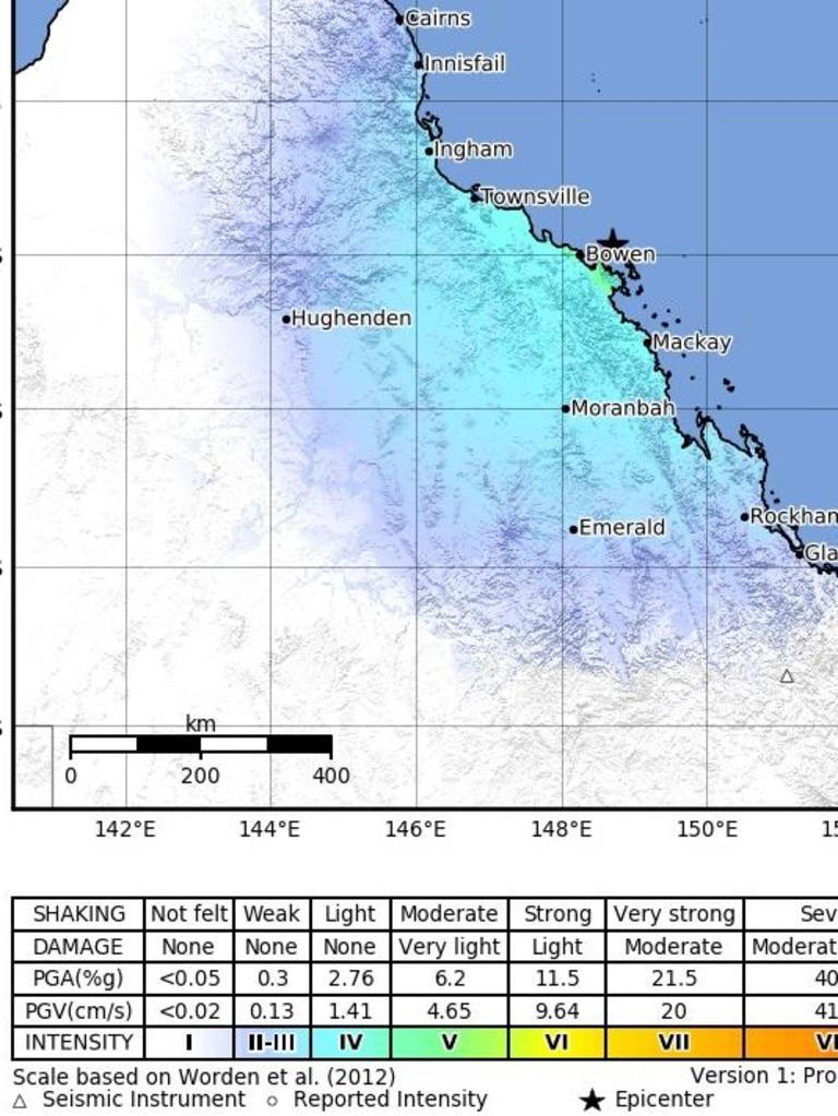 Geoscience Australia's 'Shake Map' for the 4.8 magnitude earthquake.