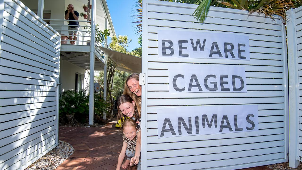 Sophie, Scarlett, Arwen and Alan from Sunshine Beach captured as 'caged animals' during the coronavirus pandemic. Picture: Dave Gleeson, Surfshots Noosa