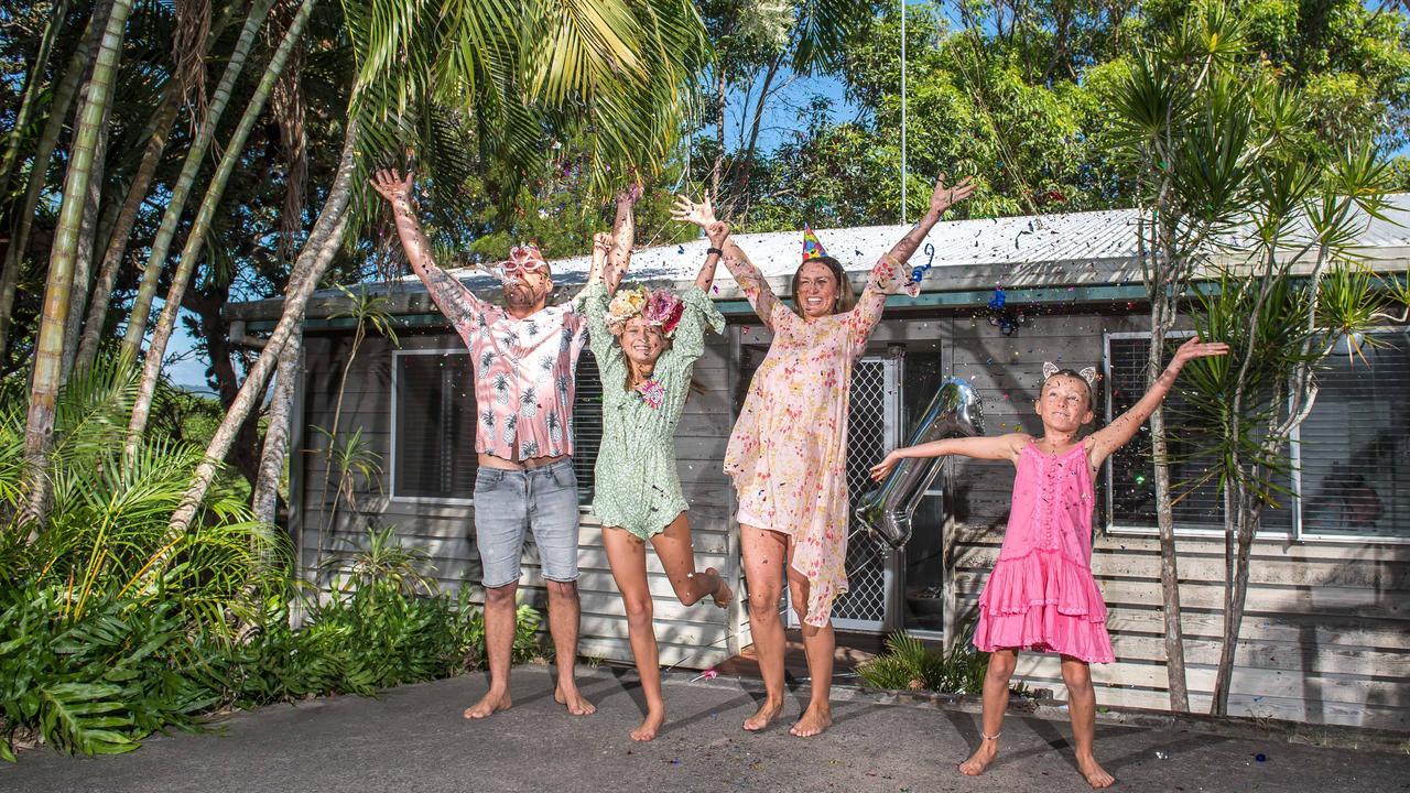 Guy, Alice, Aalia and Mila Jones from Peregian Beach captured during the coronavirus pandemic on Aalia's 11th birthday. Picture: Dave Gleeson, Surfshots Noosa