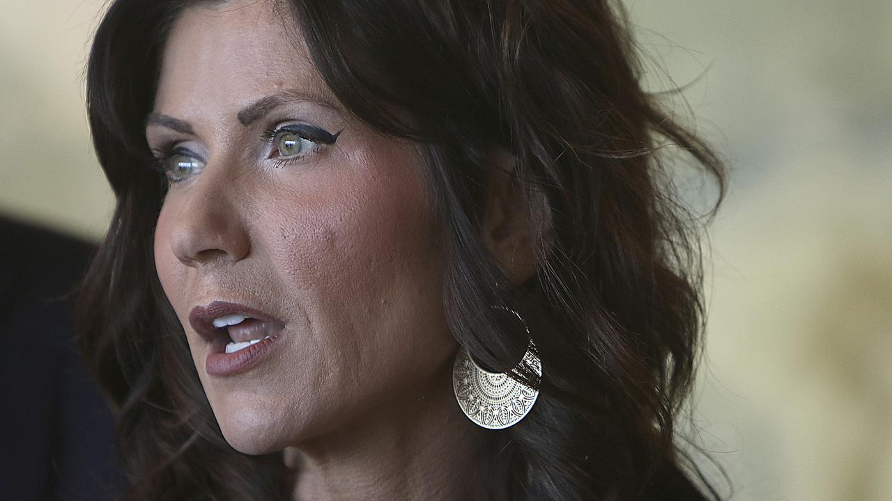 South Dakota Gov. Kristi Noem speaks in Rapid City. Picture: AP