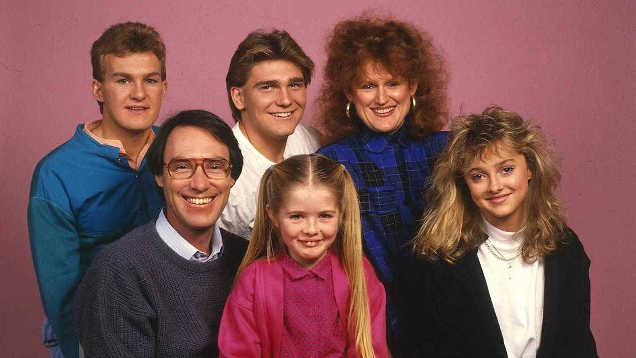 The cast of sitcom Hey Dad! including Robert Hughes (bottom left) and victim Sarah Monahan (next to Hughes).