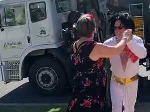 WATCH: Garbage truck 'claps' for dancing Elvis