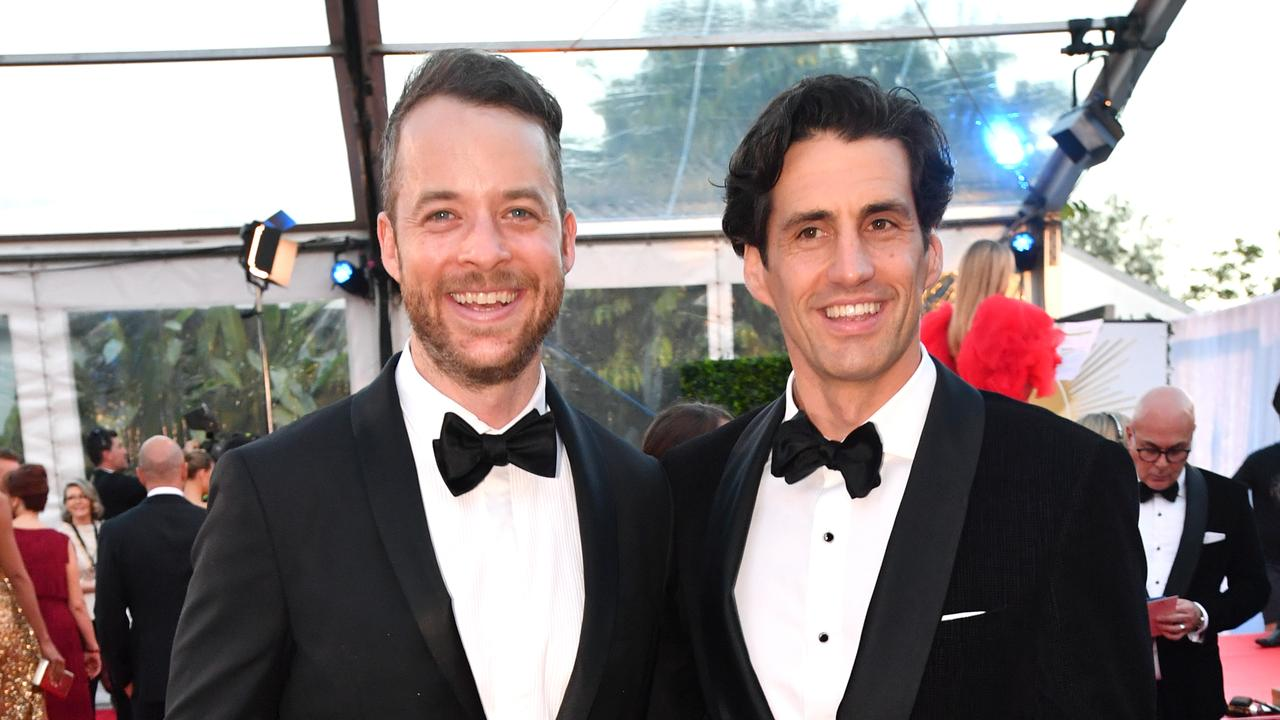 Hamish Blake and Andy Lee at the 2019 Logie Awards. Picture: Darren England/AAP