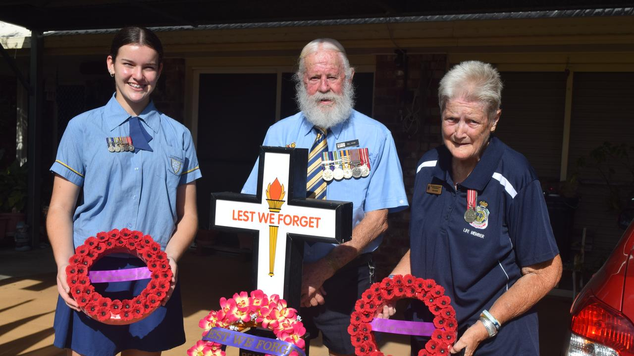 Jorja, Bill and Joan Rose will celebrate Anzac Day with a driveway ceremony for themselves.