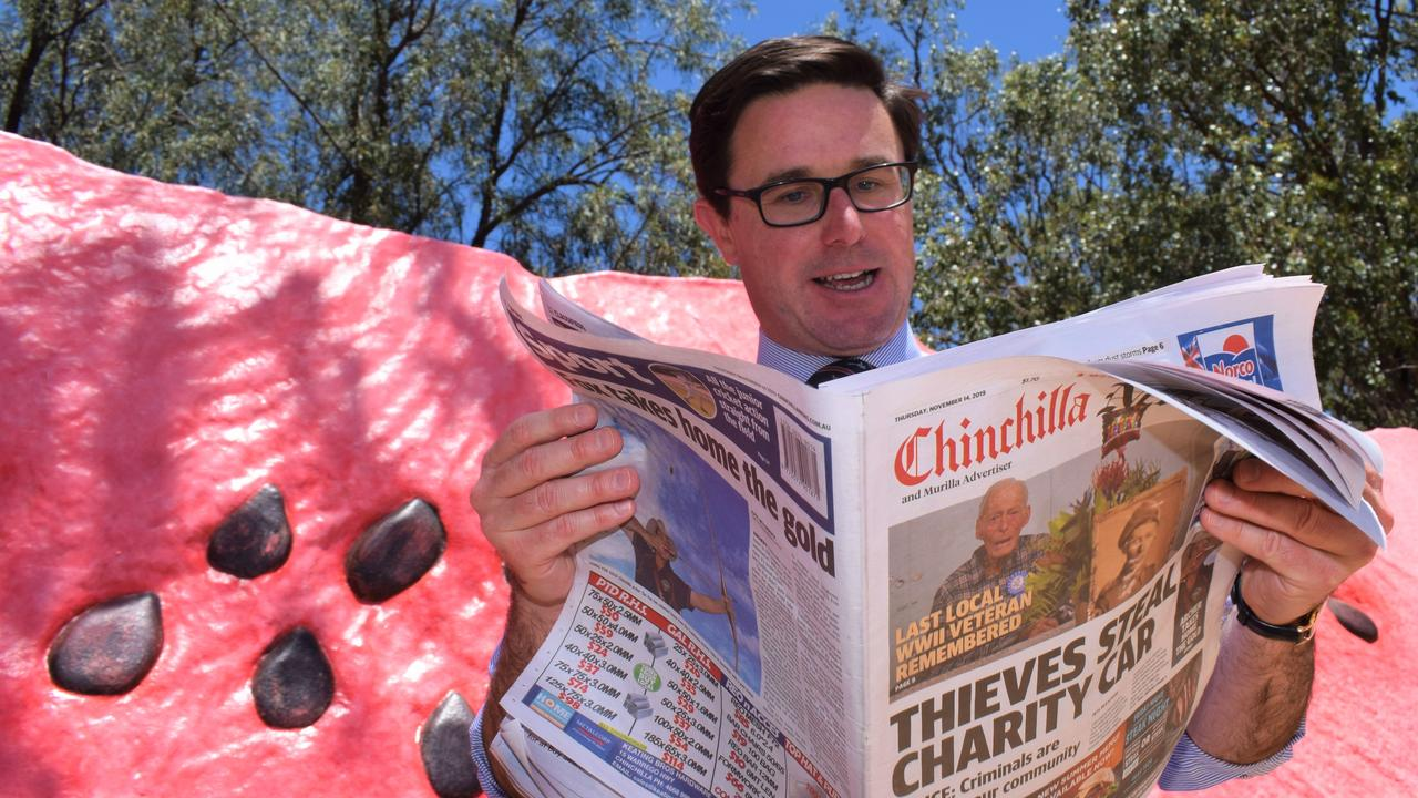 DAILY NEWS: Maranoa MP David Littleproud says he highly values the role of having regional media outlets in his electorate for residents to source their local news. Photo: Kate McCormack