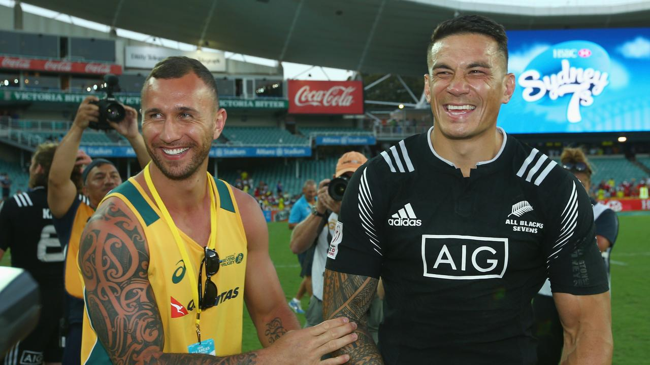 Michael Maguire wants Quade Cooper and Sonny Bill Williams at Wests Tigers. Picture: Mark Kolbe/Getty