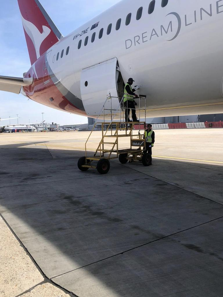 Equipment loaded onto the Qantas flight. Picture: Supplied
