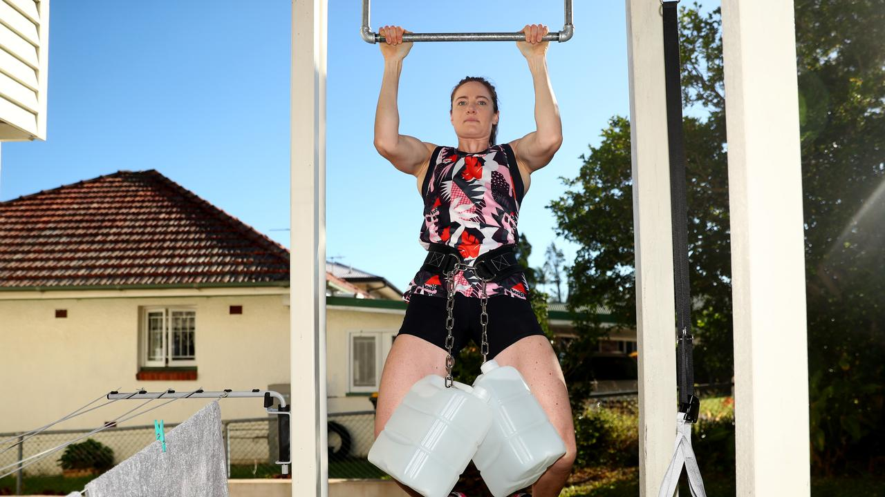"Cate Campbell in her ""gym"", aka her yard, in Brisbane. Picture: Chris Hyde/Getty Images"