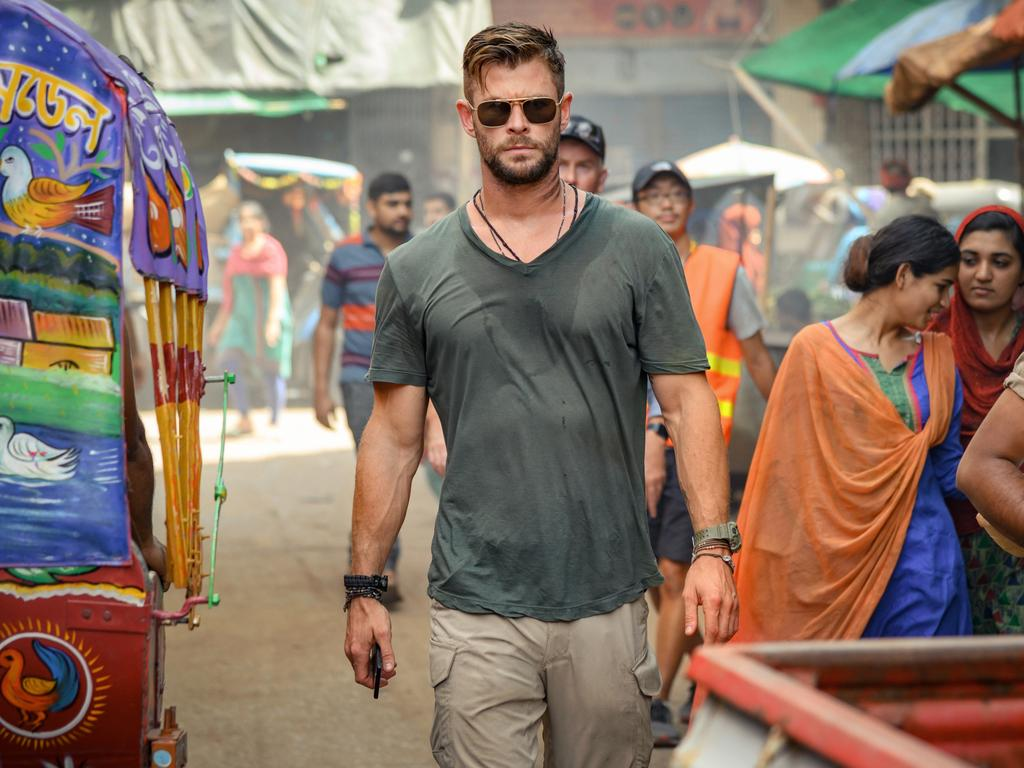 Chris Hemsworth in a scene from Extraction. Picture: Jasin Boland