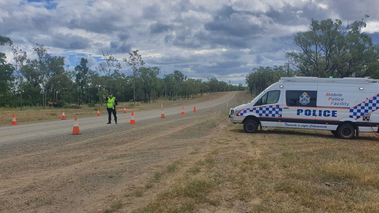 A police roadblock set up at Chillagoe with travel into Cape York restricted to