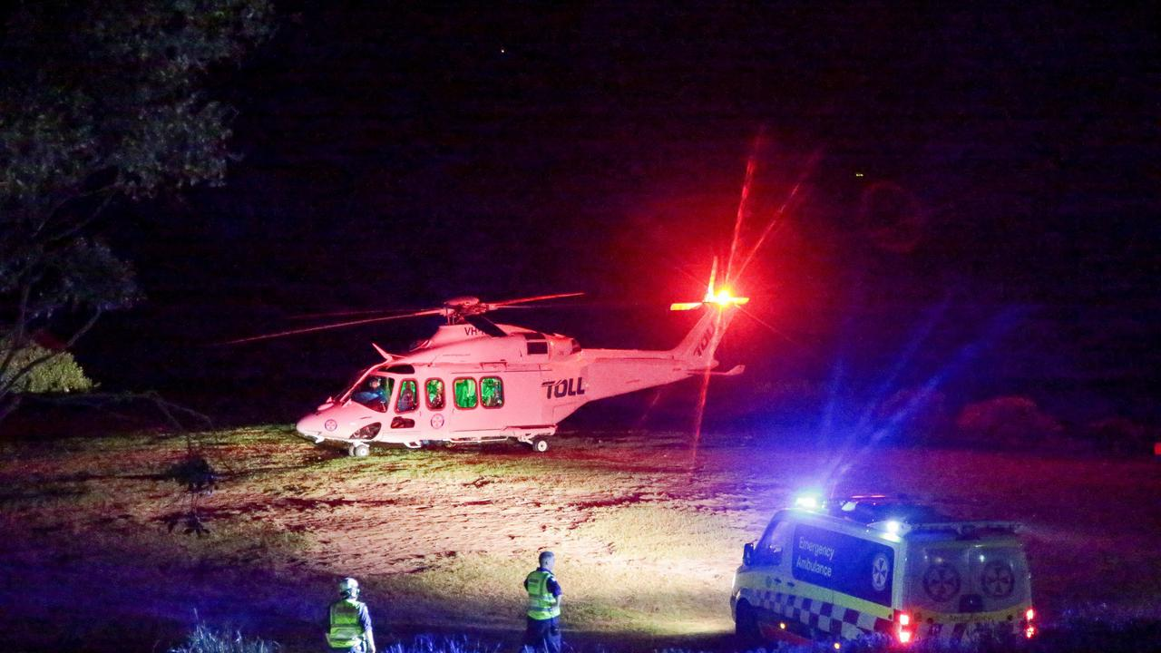 Rescue helicopters reeled in specialist doctors to rescue the teenager, who had fallen eight metres into Rosa Gully. Picture: Damian Hoffman