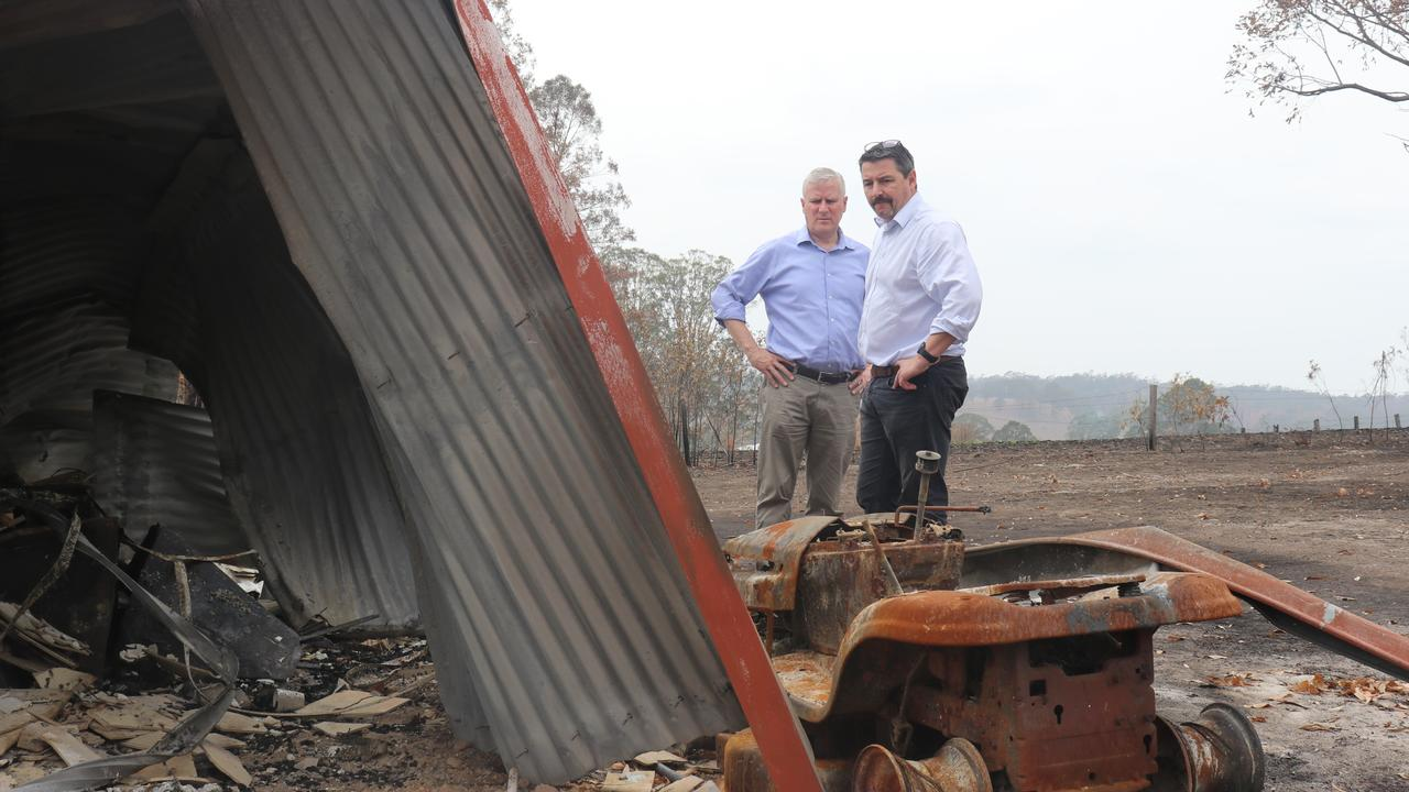 Deputy PM Michael McCormack and Cowper MP Pat Conaghan assess the bushfire damage at a property in Willawarrin on the Mid North Coast.