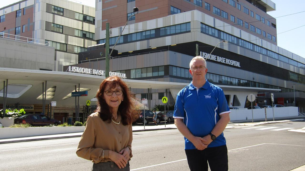 Lismore MP Janelle Saffin and Health Service Union organiser Peter Kelly are encouraging local businesses to help cater for health workers at Lismore Base Hospital. Photo: Jackie Munro