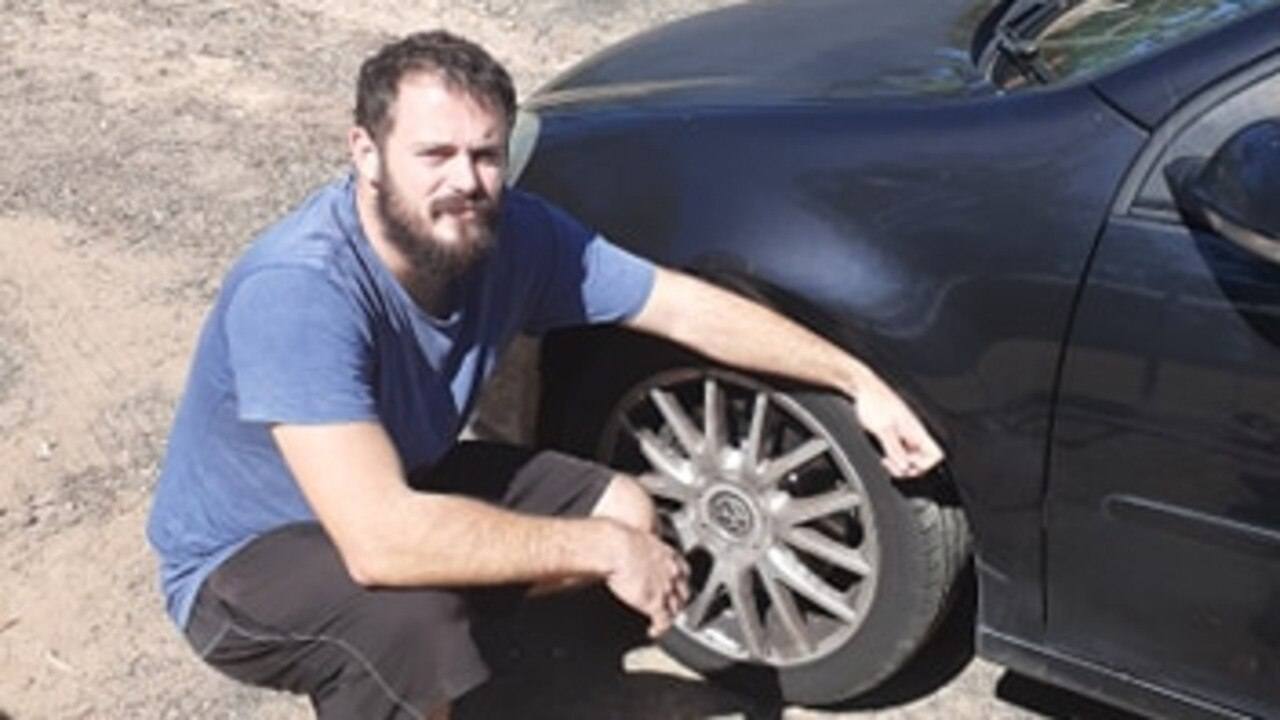 PUNCTURED: Chris Maddren found a nail in the tyre of his partner's car when he was on his way to the grocery store. PHOTO: Supplied