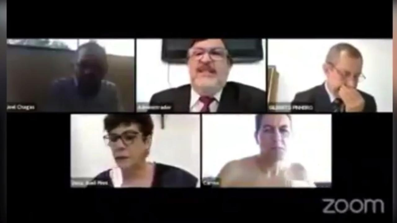 One judge's colleagues in Brazil copped an unexpected surprise when they logged in for their Zoom meeting. Picture: Supplied.