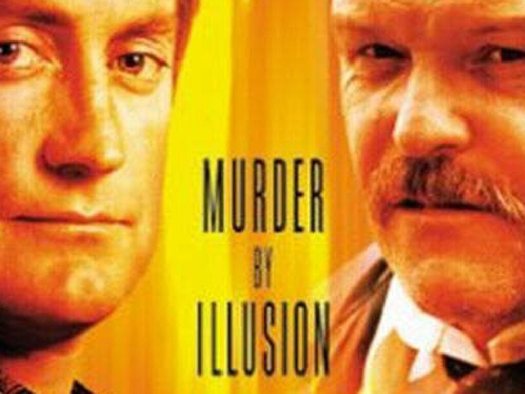 Dennehy with Bryan Brown on the video cover for the film f/x Murder By Illusion. Picture: Supplied