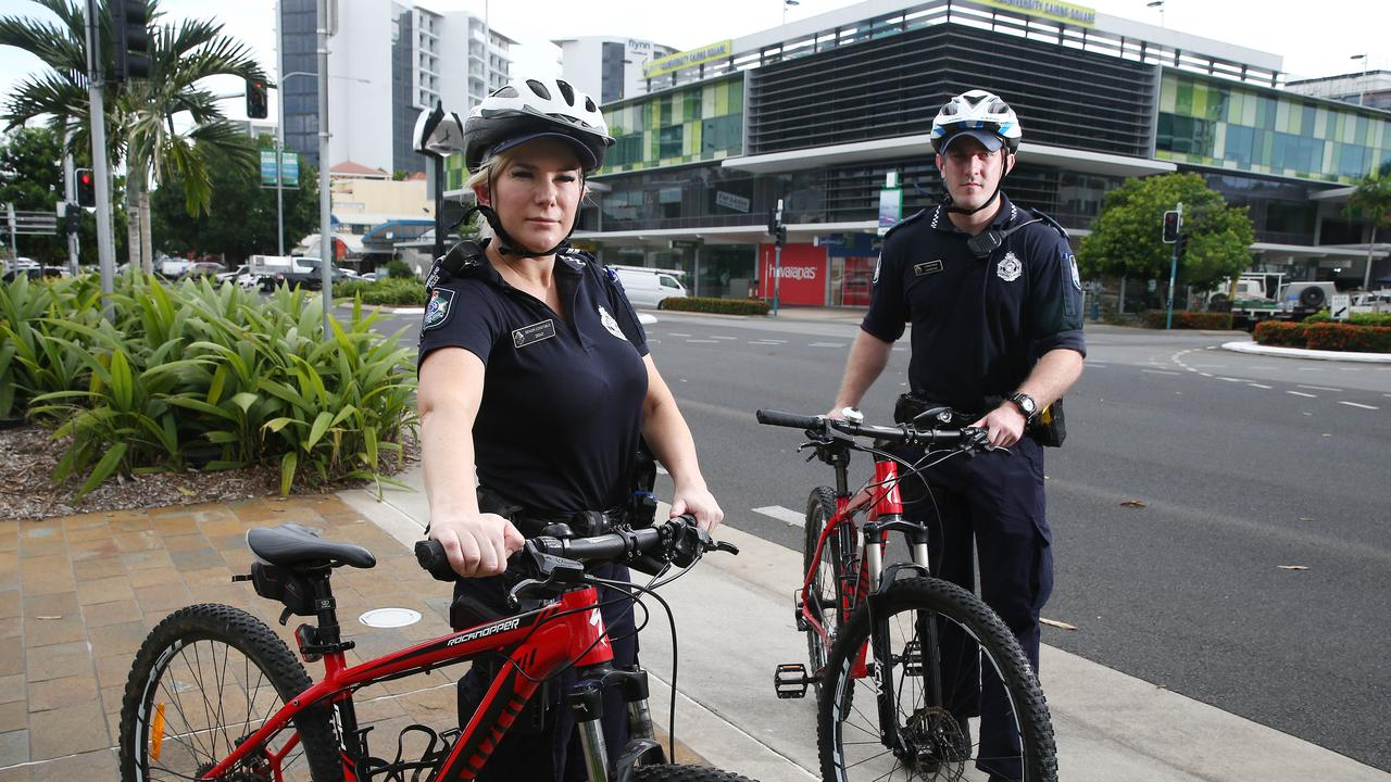 Senior Constable Chonoea Davey and Constable Xavier May patrol Shields Street on bicycle. PICTURE: BRENDAN RADKE.