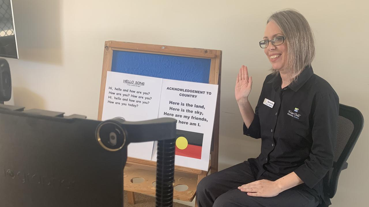 ONLINE LIBRARIES: Fraser Coast Libraries children and youth services library assistant Samantha Horne is working from home recording storytelling and activities sessions to post to the libraries' YouTube and Facebook pages.