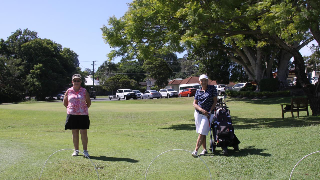 GOLFING GALS: Lismore Women's Golf Club member Nola Lobban and club captain Cheryl Booker said following social-distancing guidelines allows their players to enjoy playing the game which is beneficial for physical and mental health. Photo: Alison Paterson