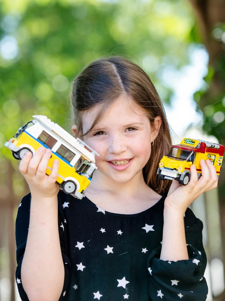 Eight-year-old Emily Devereaux loves getting into Lego. Photo: Tracey Devereaux