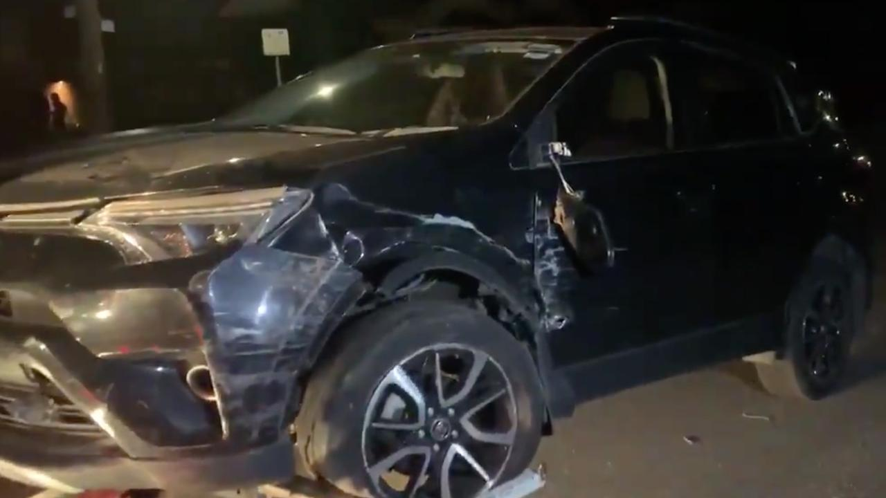 Lachie Hunter crashed into four parked cars on Thursday night. Picture: Supplied