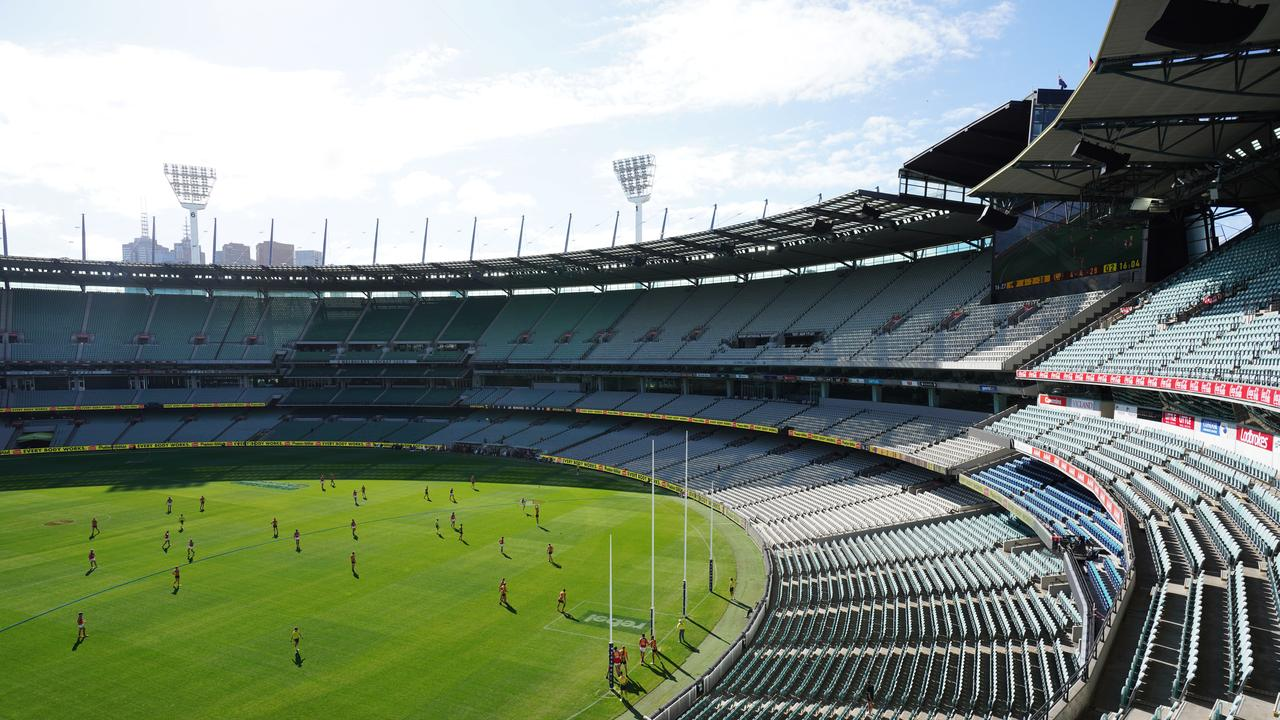 The AFL played its only round of the year so far in empty stadiums. The sport could return this year but it's unlikely spectators will. Picture: AAP / Michael Dodge