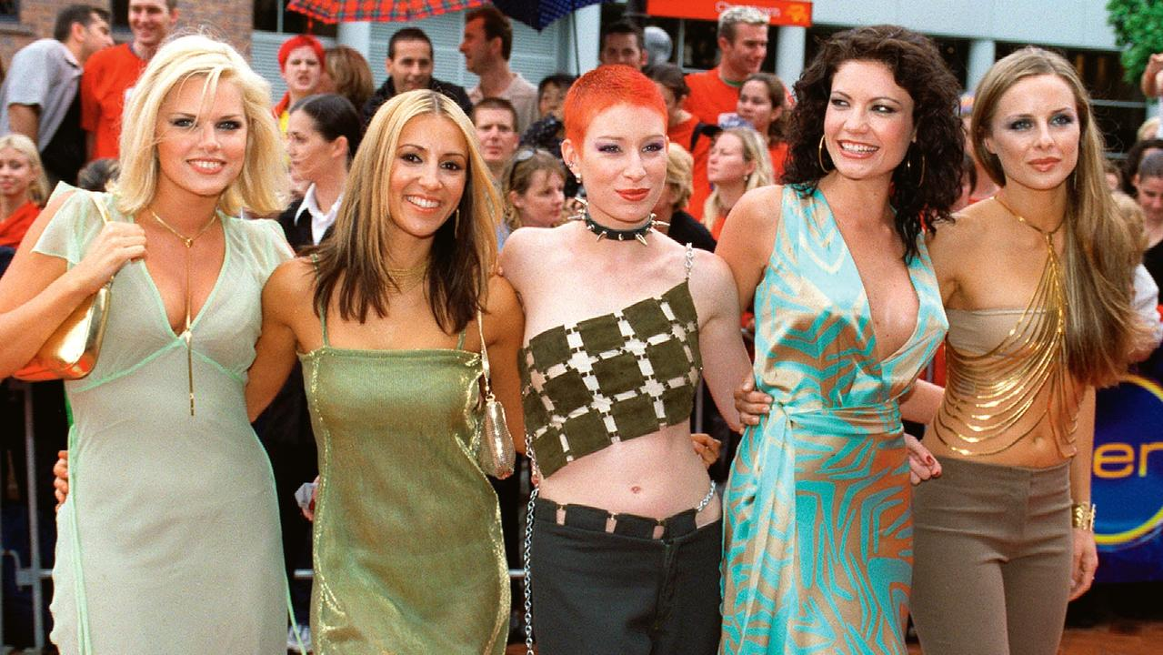 Bardot on the red carpet at the 2000 Aria Awards in Sydney. Pictured from left, Sophie Monk, Sally Polihronas, Katie Underwood, Tiffani Wood, and Belinda Chapple. (Picture: Mick Tsikas)