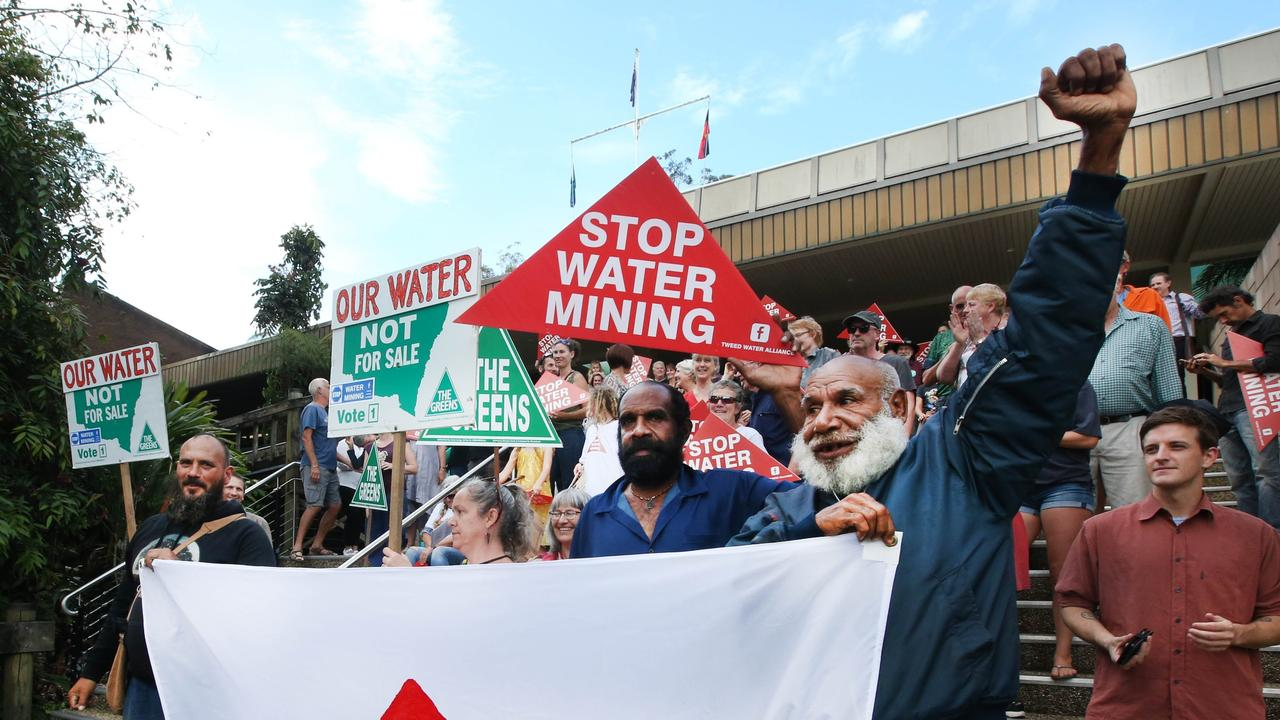 Residents protesting against water mining in Tweed in 2017. PHOTO: SCOTT POWICK