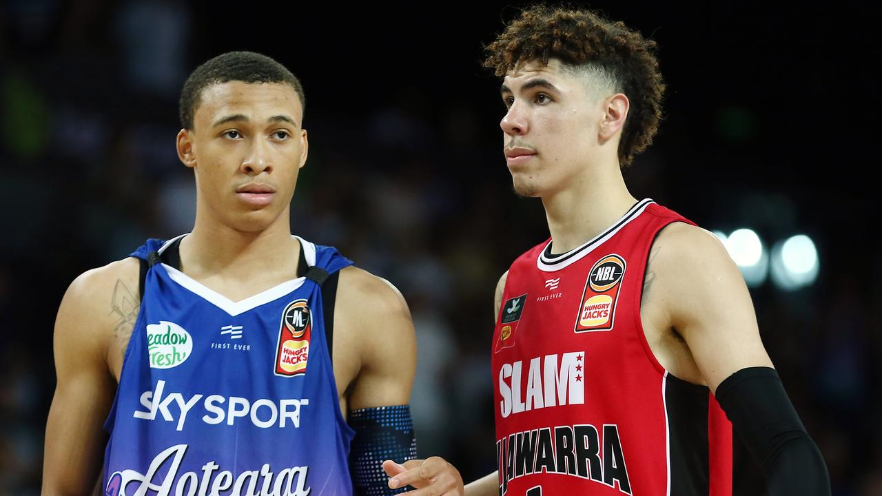 RJ Hampton and LaMelo Ball brought the eyes of the world onto the NBL. Picture: Getty Images