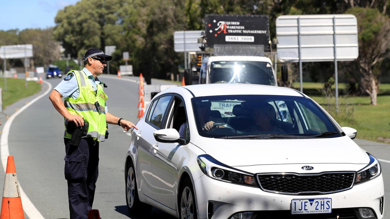 Police conduct checks at the QLD/NSW border at Coolangatta due to COVID-19 crisis. Picture: Adam Head