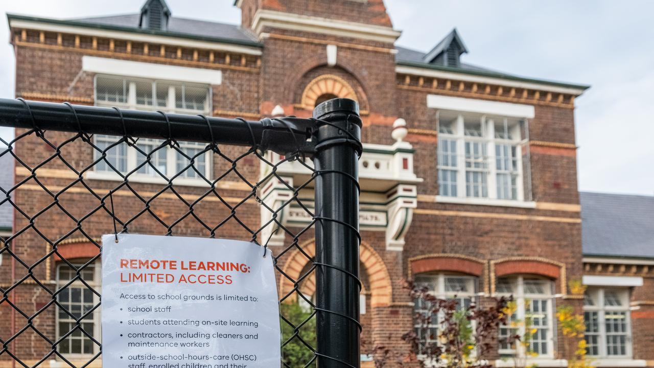 A sign outside St Kilda Primary school notifying of limited access under remote learning restrictions in Melbourne, Australia. Picture: Asanka Ratnayake/Getty Images