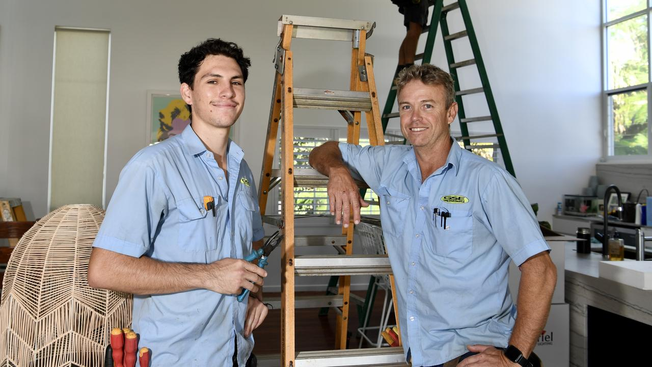 BRIGHT SPARK: Apprentice electrician Samuel Marshall with his boss Greg Small.